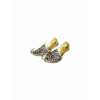 Traditioneller Khussa für Damen mit Stickerei - Schwarz-Gold