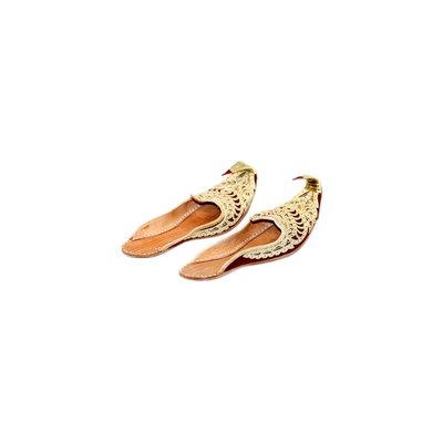 Traditional open Khussa for women with embroidery - Gold Red