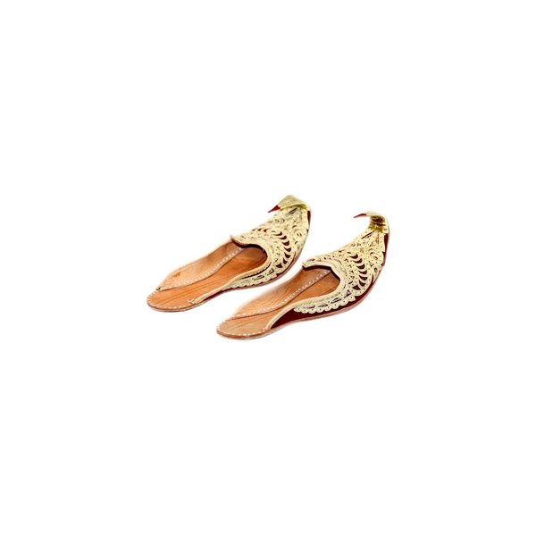 Traditional Indian Khussa shoes with embroidery - Gold Red