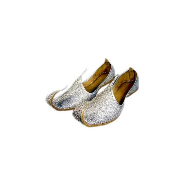 Traditioneller Khussa für Damen mit Stickerei - Silber