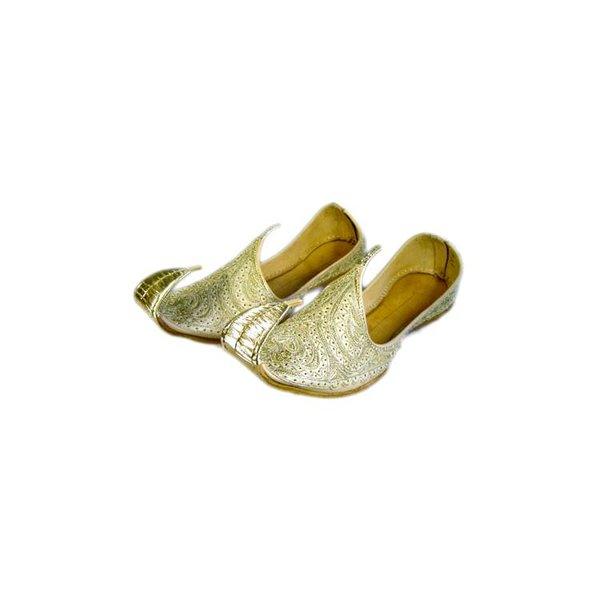 Orientalischer, Indischer Khussa Schuh für Damen mit Stickerei - Gold