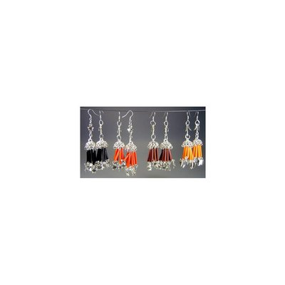 Oriental earrings with beads of different colors