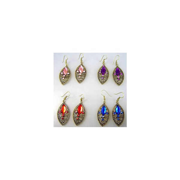 Earrings with rhinestones in gold - Kathra