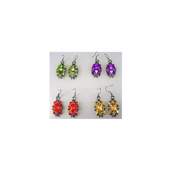 Earrings with colorful rhinestones - Chrystal