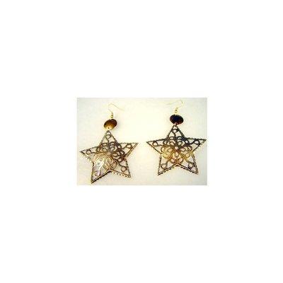 Oriental star earrings in gold-black or copper
