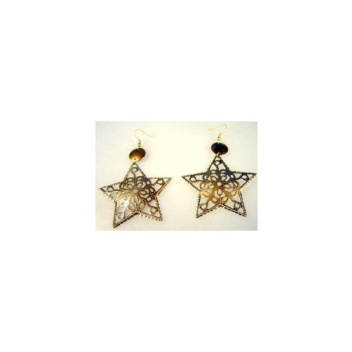 Star earrings in gold-black or copper
