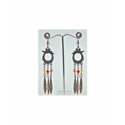 Oriental Tribal Chandelier Earrings - Gold Tone Blackened