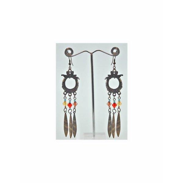 Oriental Tribal Chandelier Earrings - Gold Tone Blackened