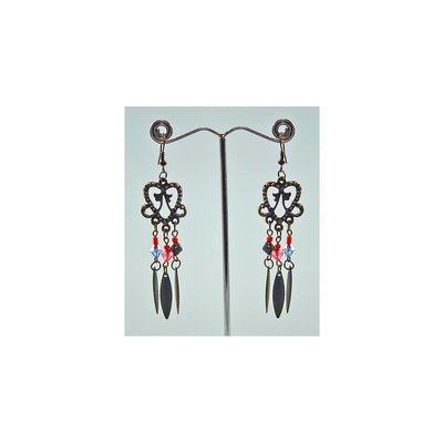 Oriental Tribal Chandelier Earrings - Gold Tone Blackened - Heart Shape
