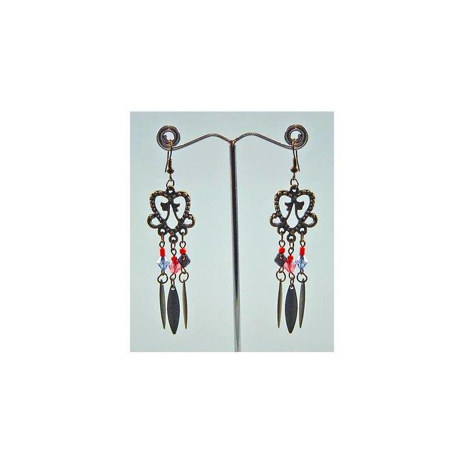 Chandelier Earrings - Gold Tone Blackened