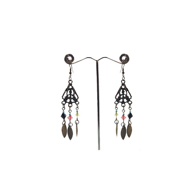 Chandelier Earrings - Gold Tone Blackened