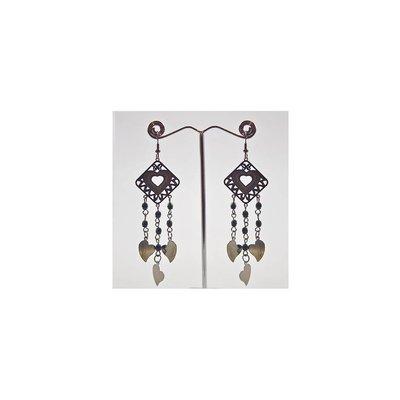 Drop Earrings Black Metallic - Hearts