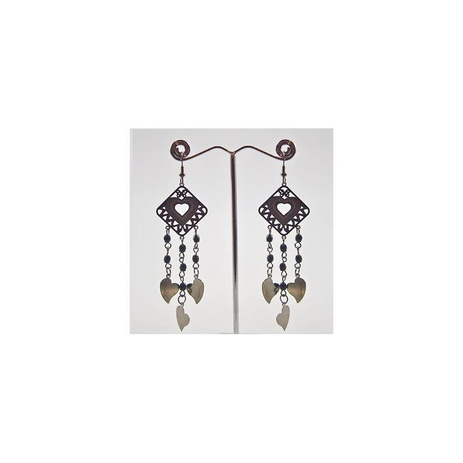 Drop Earrings Black Metallic - Hearts