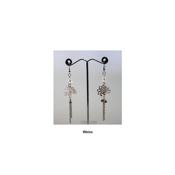 Delicate chandelier earrings pearl flower in different colors
