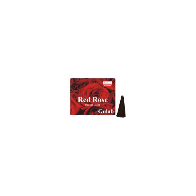 Darshan Incense cones Rose with holder (10 pieces)