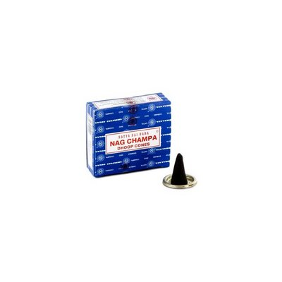 Satya Incense cones Nag Champa scent with holder (10 piece)