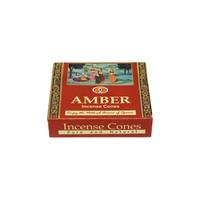 Darshan Räucherkegel Duftnote Amber mit Halter (10 Stück)