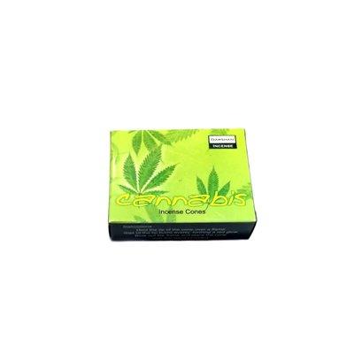 Darshan Räucherkegel Duftnote Cannabis mit Halter (10 Stück)
