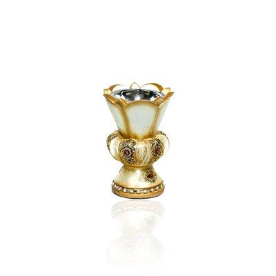 Mubkara - Räuchergefäß Keramik für Räuchern mit Bakhour Creme-Gold