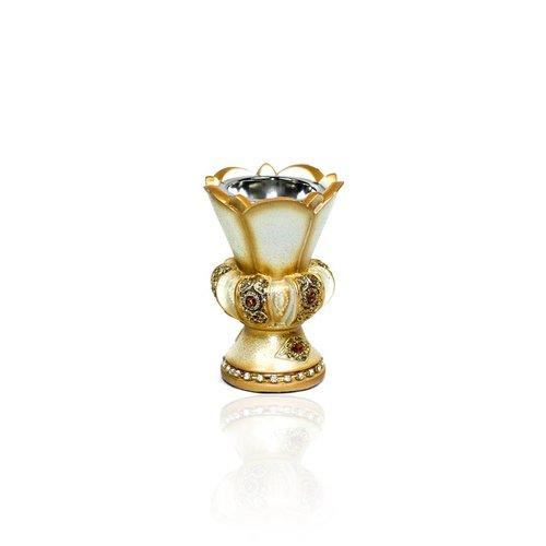 Mubkara - Räuchergefäß Keramik Creme-Gold