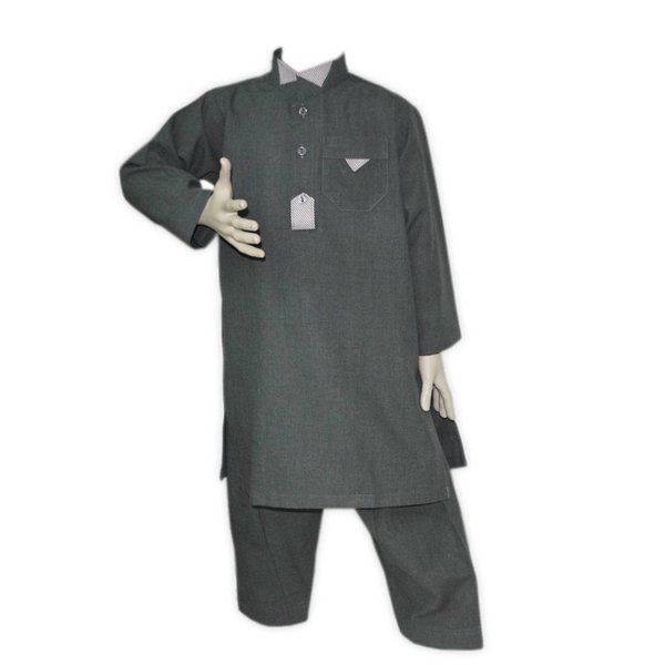 Kinder Salwar Kameez in Grau für Jungen