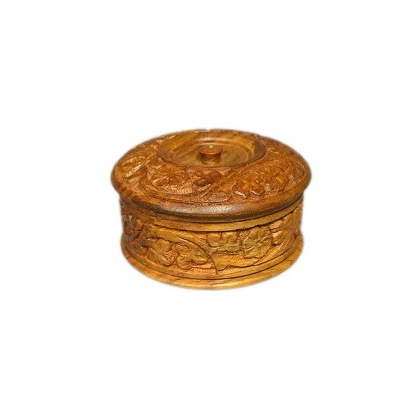 Small wooden box with carvings in Sheesham