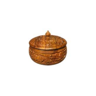Kleine Holzdose mit Untersetzern
