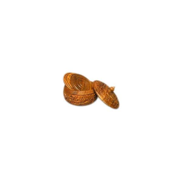Kleine Holzdose mit Untersetzern aus Sheeshamholz