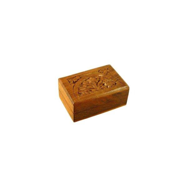 Kleine Schatulle mit Schnitzereien aus Holz