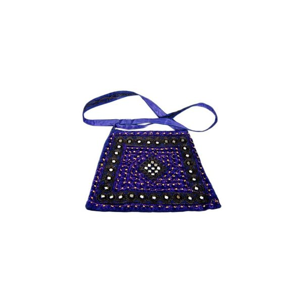 Shoulder bag with mirrors in blue