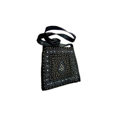 Shoulder bag with mirrors in black