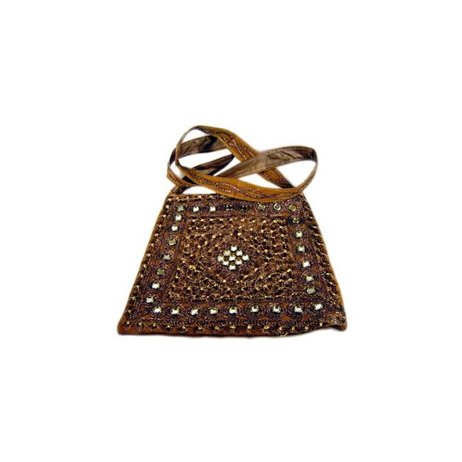 Shoulder bag with mirrors in brown