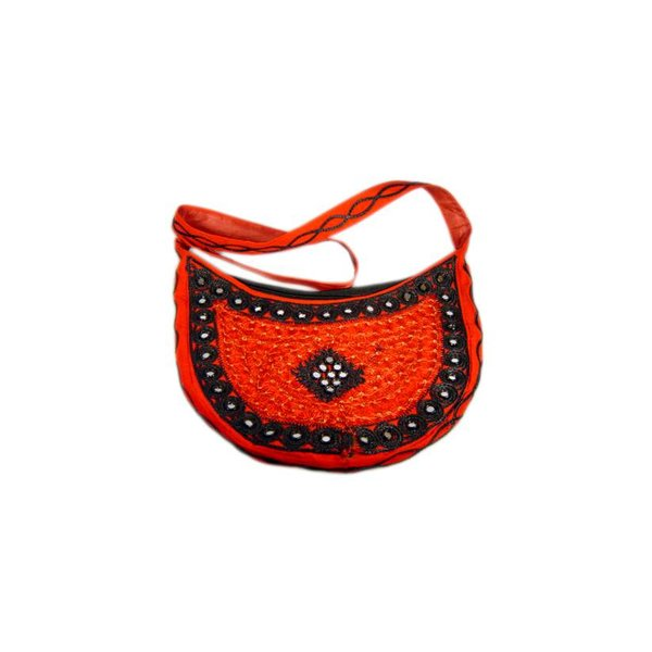 Shoulder bag with mirrors half-round in red