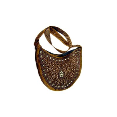 Shoulder bag with mirrors semicircle in Brown