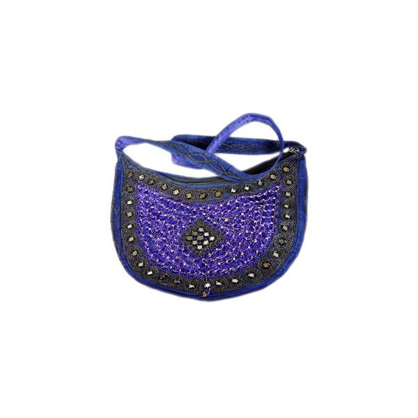 Shoulder bag with mirrors semicircle in blue violet