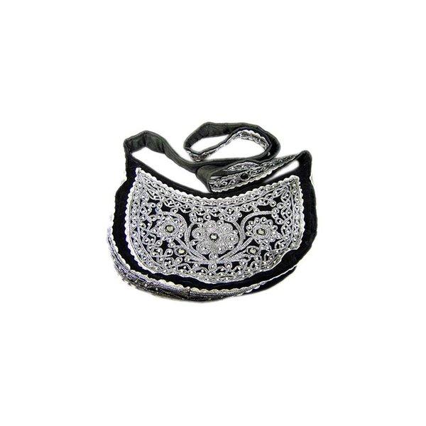 Umhängetasche mit Perlen in Schwarz