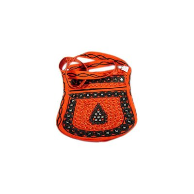 Shoulder bag handbag with embroidery Oriental Red