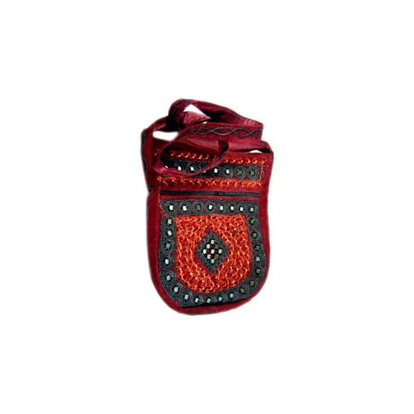 Shoulder bag handbag with embroidery Oriental Dark Red