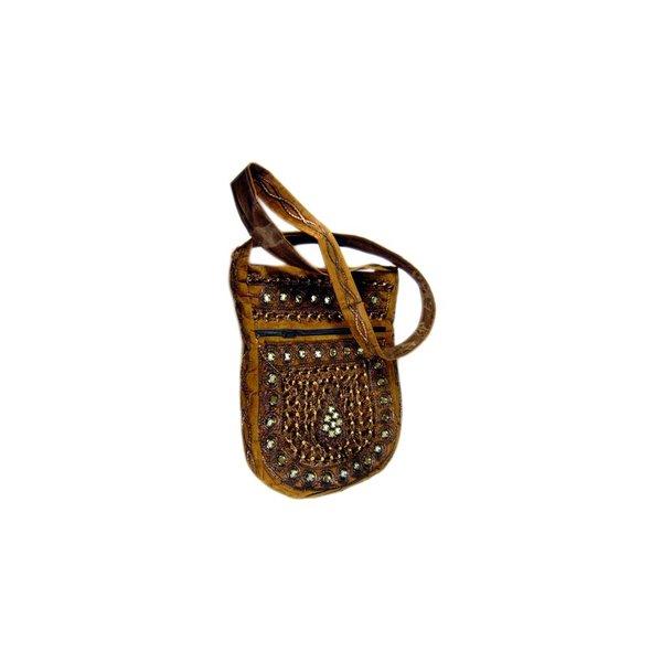 Umhängetasche Handtasche mit Stickerei Orientalisch Braun