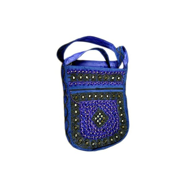 Shoulder bag handbag with embroidery Oriental Blue