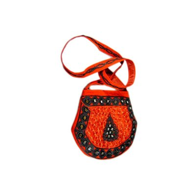 Shoulder bag handbag with embroidery Oriental Red