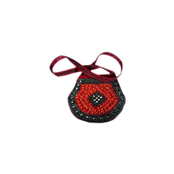 Umhängetasche Handtasche mit Stickerei Orientalisch Dunkelrot