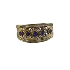 Engraved Bangle with Lapis Lazuli