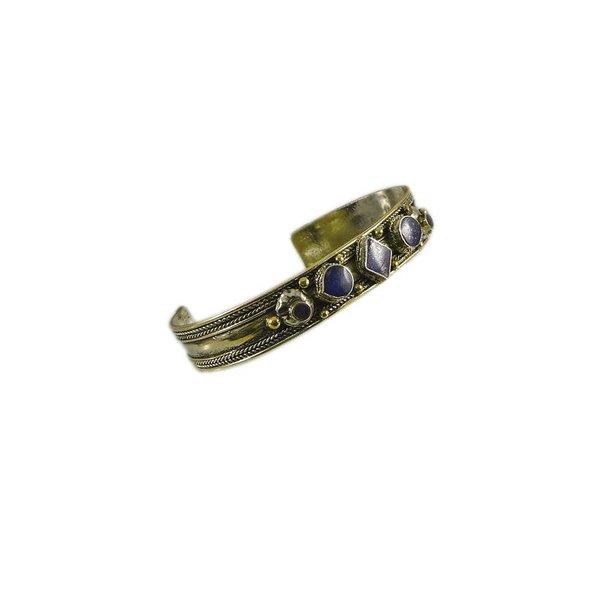 Small Tribal bracelet with lapis lazuli from alpaca