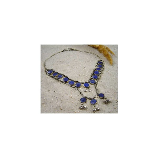 Tribal Collier Kette mit Lapislazuli 53cm