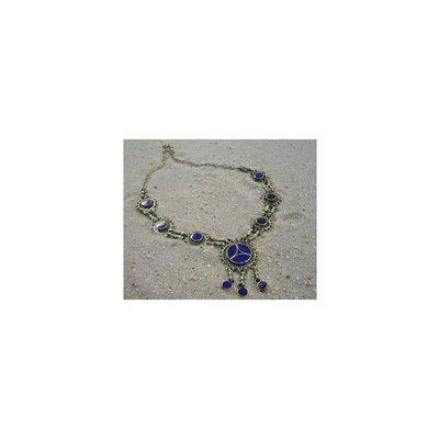 Tribal necklace with round pendant lapis lazuli