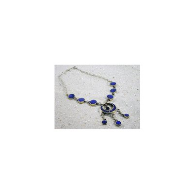 Tribal necklace with crescent pendant lapis lazuli