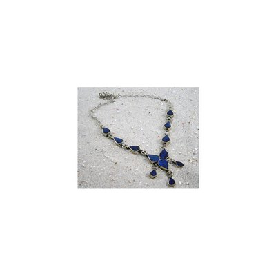 Tribal costumes necklace with lapis lazuli droplets