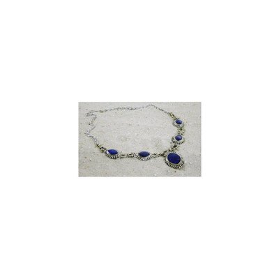 Tribal necklace with oval-pointed with lapis lazuli stones
