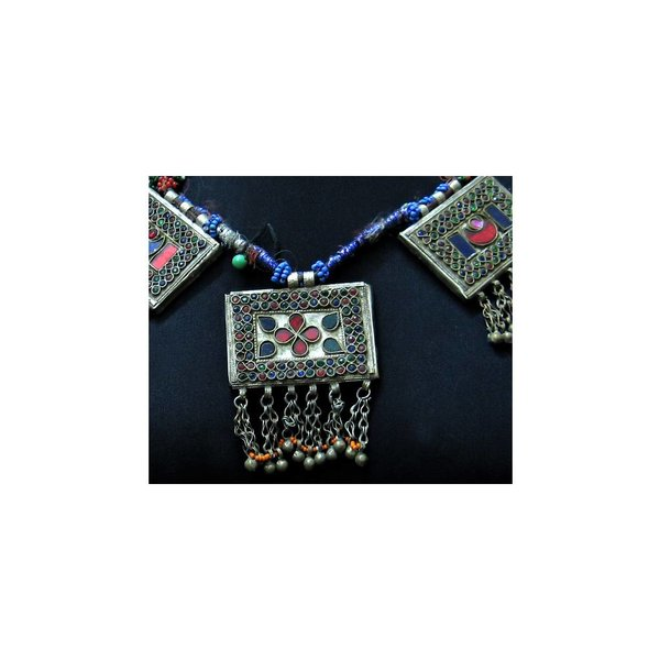 Tribal necklace with colorful pendants